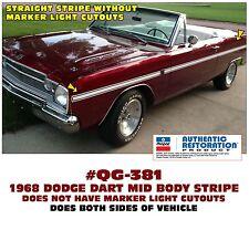 QG-381 1968 DODGE DART - MID BODY SIDE STRIPE KIT - NO MARKER LIGHT CUTOUTS