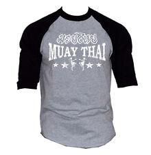 Men's Muay Thai Stars Gray Baseball Raglan T Shirt MMA Fighting Martial Arts BJJ