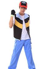 "Pokemon Pocket Monsters Cosplay Costume ""Ash Ketchum"" Satoshi Outfit 1st Ver Set"
