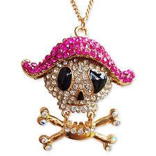 Diamante Teschio di Cristallo Rosa Collana con Ciondolo Affermazione Ciondolo catena placcata oro