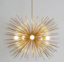 """Milieu Du Siècle Moderne Laiton Spoutnik lustre Lampe plafonnier 30"""" diam 5 Ampoule"""
