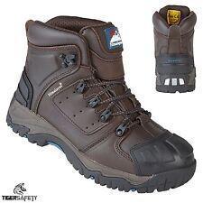 Himalayan 5207 S3 SRC Brown Gorra De Cuero Puntera De Acero Botas De Seguridad Trabajo Impermeable