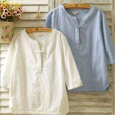 Women Ethnic Linen V Neck Shirt T-shirt Top 3/4 Sleeve Cotton Solid Loose Plain