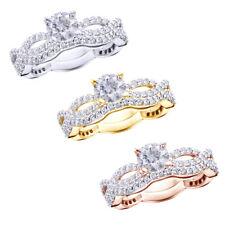 1 Ct Infinity Twist Micro pave Diamond Engagement Ring Matching Wedding Set