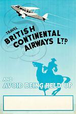 PLAQUE ALU DECO AFFICHE AVION BRITISH CONTINENTAL AIRWAYS 1936