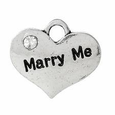 "4 5 10 ou 20 pcs silver tone strass ""concilier me' Coeur Charms mariage No108"
