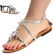 Zapatos Mujer Brillo De Diamantes Imitación Sandalias Chanclas Dedo plana