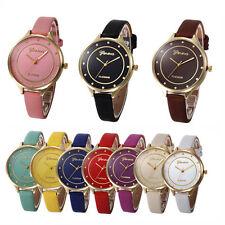Ladies Stylish Fashion Geneva Platinum Quartz Gold Case Slim Band Wrist Watch.