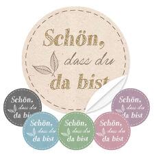 """Etiketten """"Schön dass Du da bist"""" 24 Stk. Vintage Nat Aufkleber Geschenkanhänger"""