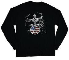 long sleeve t-shirt for men USA drummer drum kit drum set design tee shirt