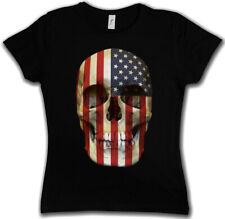 USA STARS & STRIPES SKULL FLAG GIRLIE SHIRT Totenkopf Banner US