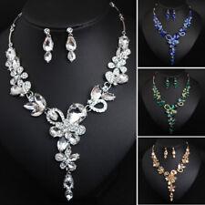 Luxury Flower Crystal Women Chain Pendant Jewelry Bridal Necklace Earrings Sets