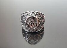 925 Sterling Silver MASTER MASON Ring Illuminati Masonic Sacred Symbols Amulet