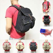 Men Women's Travel Canvas Backpack Rucksack Sport Satchel School Hiking Bag