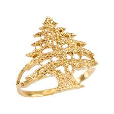 10k Yellow Gold Textured Band Lebanese Cedar Tree Women's Ring