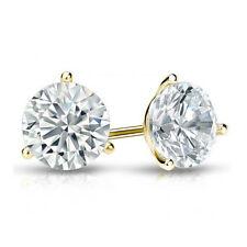 Solitär Brillant Diamant Ohrstecker 585/14K Gelbgold 2.00 Karat Diamanten D/SI1