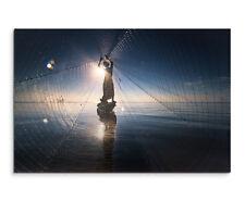 Wandbild Fotografie Fischer im Wasser mit Netz in der Sonne auf Leinwand
