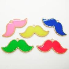 1 x néon couleur vive mustache charme pendentif métal émail collier making