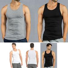 Lot of 3 or 6 Men Tank Top 100% Cotton A-Shirt Lot Wife Beater Ribbed Undershirt