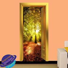 AUTUMN FOREST SUN SHINE 3D GOLDEN DOOR WALL STICKER HOME DECORATION DECAL MURAL