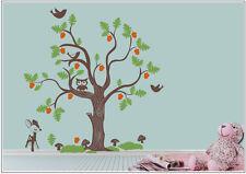Wandtattoo wandaufkleber wandsticker kinderzimmer Baum Eulen Vogel Deer wbm36