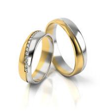 Ein Paar Trauringe Eheringe Gelbgold Weißgold Verlobungsringe Etui Steine PL318