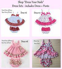 Baby  Toddler Sling Sun Dress + Pant Ruffle Frill Set Part opened back