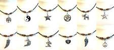 Retro Black Leather Beaded Bracelet / Anklet - Ethnic Tribal Coco Beads Hippi