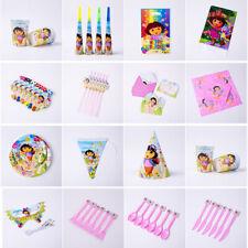 Dora Explore Kid Girl Birthday Party Tableware Mask Horn Plate Cups Straw Napkin