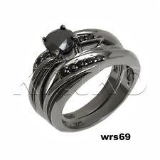 Nickel Free Black 925 Sterling Silver Bridal Engagement Ring & Wedding Rings Set