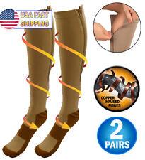 2 Copper Infused Zipper Compression Socks Closed Toe Pressure Circulation Socks