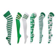 Girls Ladies Over Knee High Socks St Patricks Football Clover Shamrock Irish