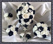 Fleurs De Mariage Ivory/Marine Roses diamant Bouquet,Fiancée/