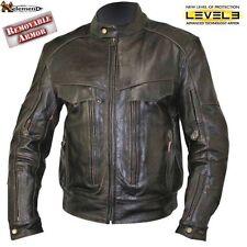 Xelement B7496 Distress Retro Brown Bandit Buffalo Leather Biker Jacket w/ Armor