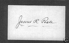 James R Poole signed Index Card 1895-1975