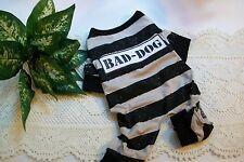 BAD-DOG Prison Pajamas Puppy pet Pj's pjs S costume halloween new Small longjohn