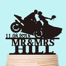 Motorcycle Couple Wedding Cake Topper Motorbike Customised Bride and Groom Decor