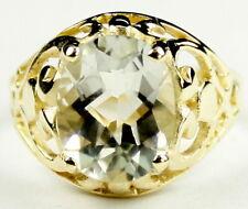 • R004-14, 10x8mm, Green Amethyst, 14k Yellow Gold Ladies Ring -Handmade