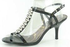 *SALE* Spot On F1708 Ladies Black Synthetic Diamante Detail Evening Sandals