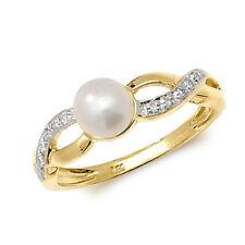 9 Ct Oro Amarillo y Diamantes Anillo De Perlas Cultivadas