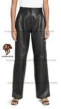 LionStar Platted Ladies Real Cowhide Leather Loose Pants / Trousers / Leggings