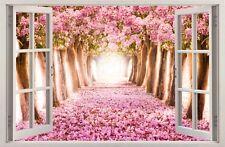 Adesivi Murali Finestra Effetto 3D Percorso di fiori decorazioni murali 44