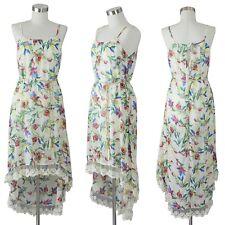 Womens Spaghetti Strap Dress Hi Low Hem Floral Lace Sleeveless Tunic S M L