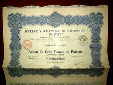"""Sucrerie et Raffinerie de Cochinchine"""" Phumy"""" share certif.Viet Nam 1926"""