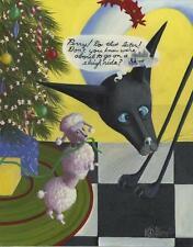 CHRISTMAS TREE SLEIGH RIDE NEW YORK CITY BEATNIK SIAMESE CAT POODLE DOG PAINTING