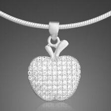 Apfel Anhänger Apple 925 Silber Zirkonia Kette Schmuck Geschenke Damen Kinder ❤