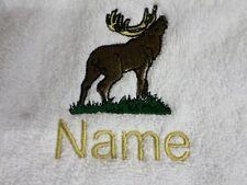 ALCE y Nombre Personalizado Bordado en Toallas De Algodón Baño Batas Con Capucha