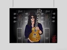 SLASH POSTER GIBSON LES PAUL GUITAR GUITARIST MUSIC ROCK BAND A3 A4 SIZE
