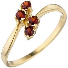 Damen Ring 375 Gold Gelbgold 4 Granate rot Goldring Granatring Gelbgoldring