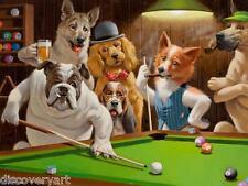 Los Perros De Arthur Sarnoff Hustler piscina Sala De Juegos Deportes de Lona impresión de arte cartel